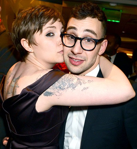 Lena Dunham and the guy she's banging, maybe on a ping pong table, AS IS HER RIGHT